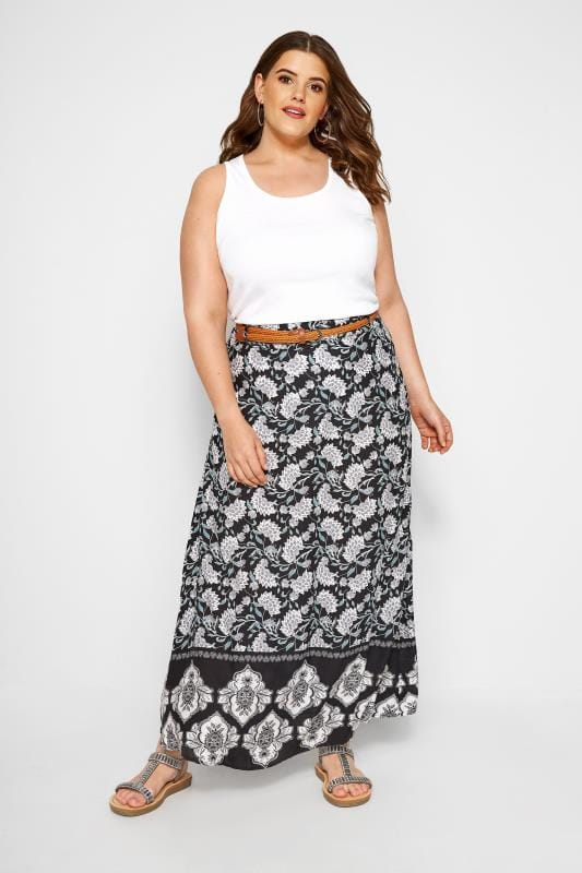 IZABEL CURVE Black Floral Print Maxi Skirt
