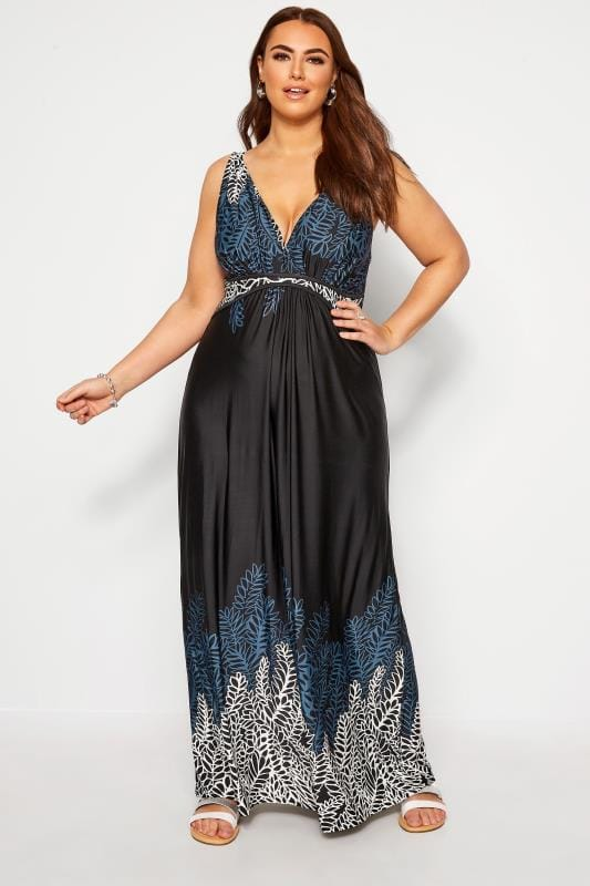 Maxi Dresses dla puszystych IZABEL CURVE Black Leaf Print Maxi Dress