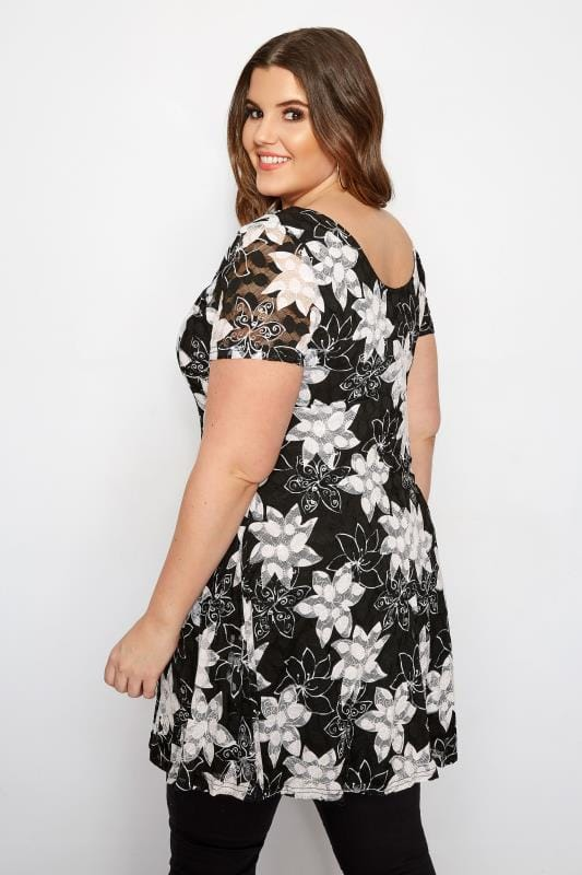 IZABEL CURVE Black & White Floral Tunic Dress