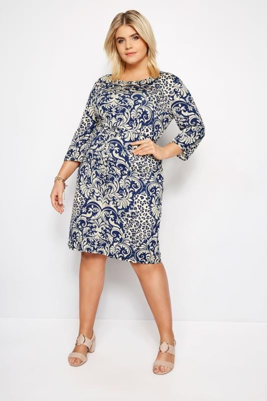 IZABEL CURVE Blue Animal Paisley Dress