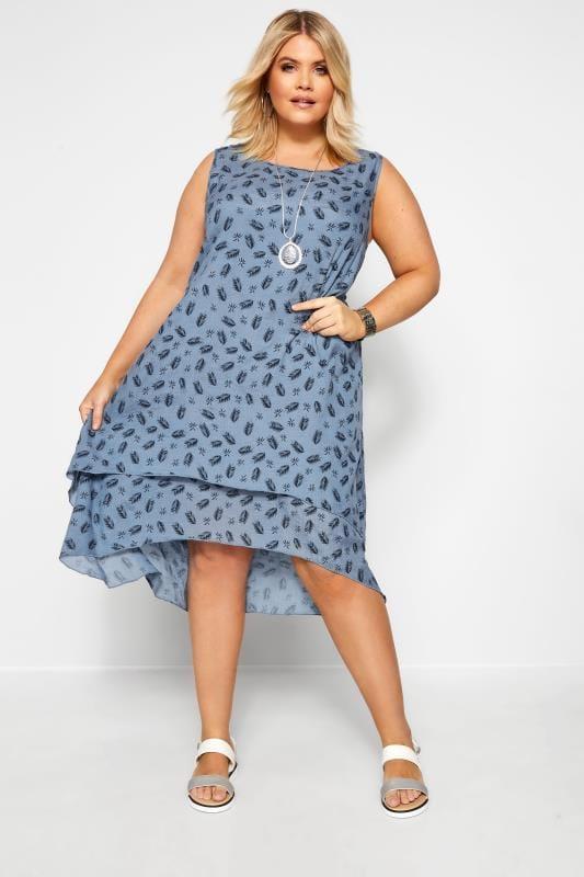 IZABEL CURVE Blue Feather Print Double Layer Dress