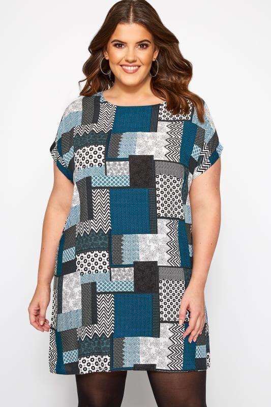 Plus Size Swing Dresses IZABEL CURVE Blue Patchwork Shift Dress