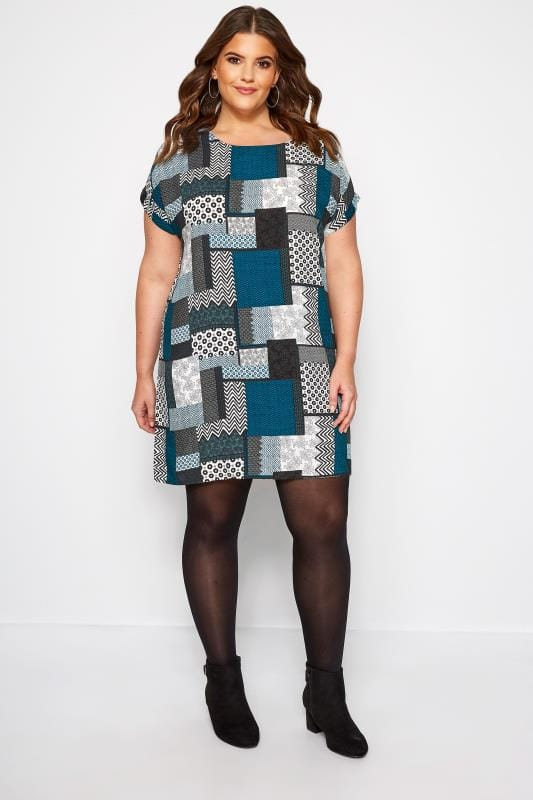 IZABEL CURVE Blue Patchwork Shift Dress