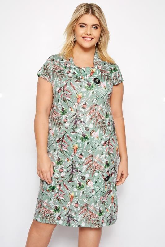 IZABEL CURVE Green Forest Button Neck Dress