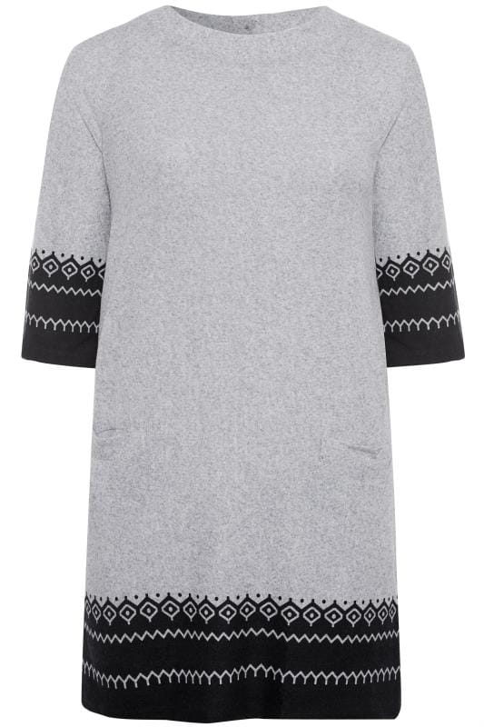 Plus Size Casual Dresses IZABEL CURVE Grey Border Tunic Dress