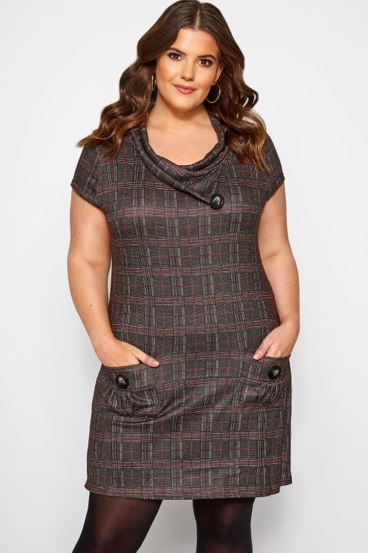 Plus Size Tunics IZABEL CURVE Grey Check Cowl Neck Tunic Dress