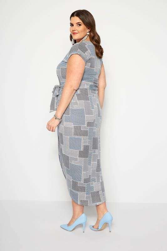 IZABEL CURVE Grey Patchwork Dress