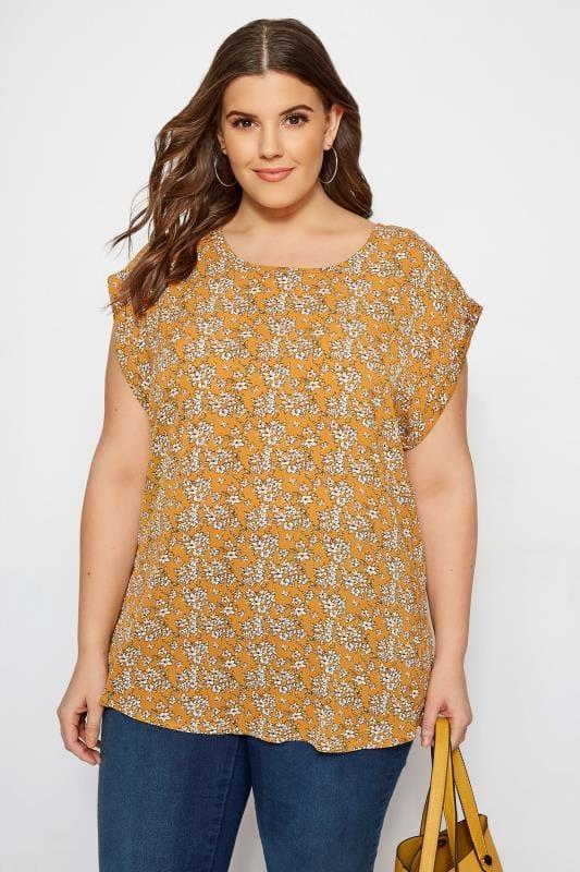 IZABEL CURVE Mustard Floral Top