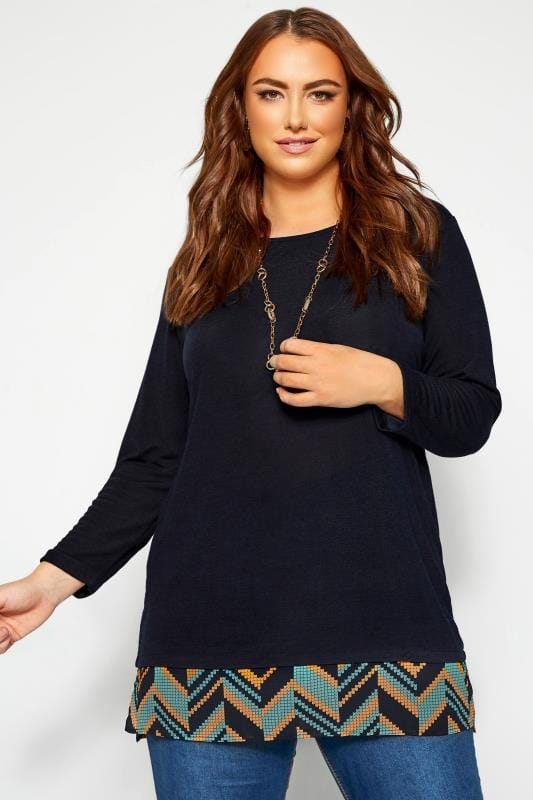 Knitted Tops Tallas Grandes IZABEL CURVE Navy 2 in 1 Knitted Top