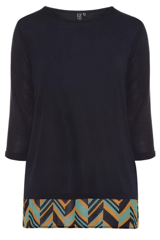 Plus Size Knitted Tops IZABEL CURVE Navy 2 in 1 Knitted Top