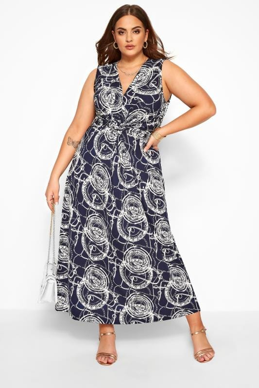 Plus Size Maxi Dresses IZABEL CURVE Navy Abstract Chain Print Maxi Dress