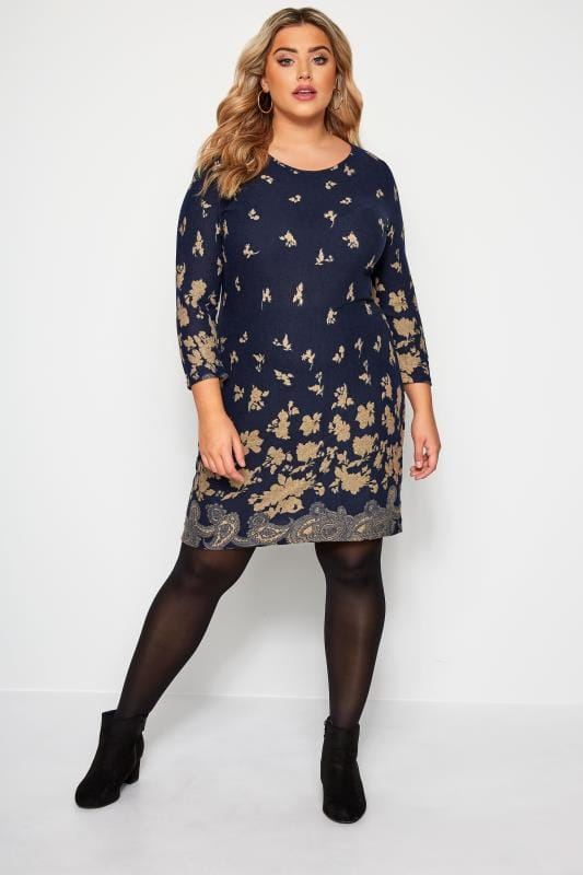 IZABEL CURVE Navy & Brown Paisley Floral Knitted Dress