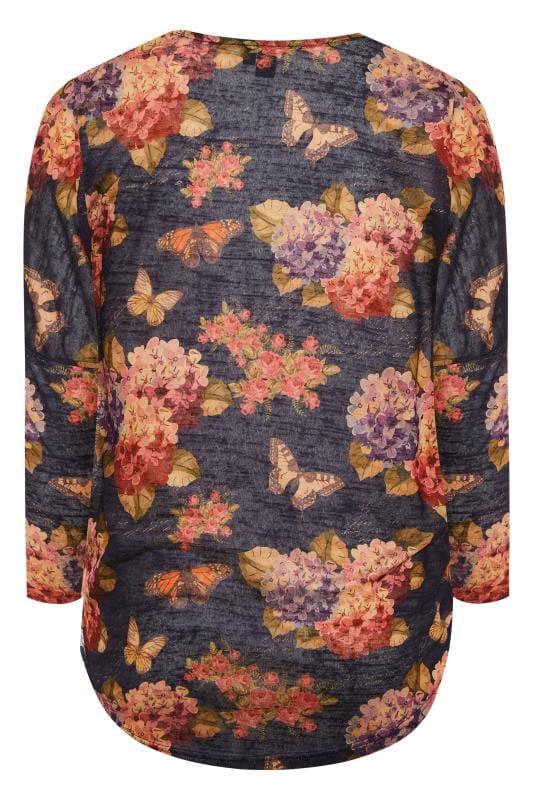 IZABEL CURVE Navy Floral Butterfly Zip Front Top