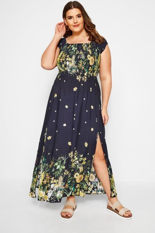 IZABEL CURVE Navy Floral Maxi Dress