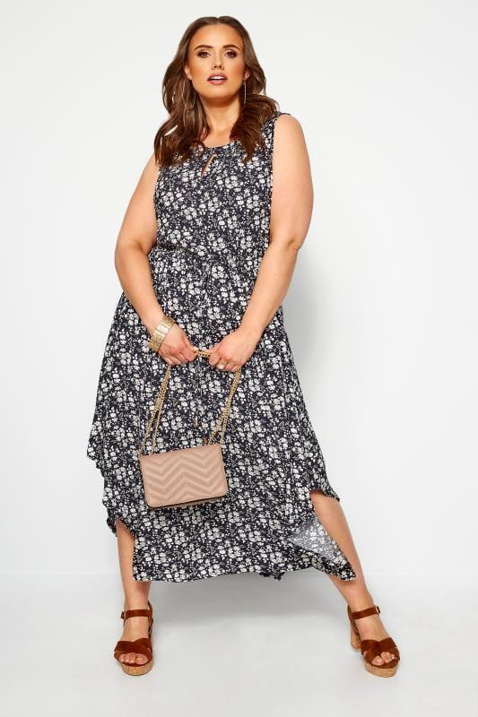 Plus Size Maxi Dresses IZABEL CURVE Navy Floral Maxi Dress