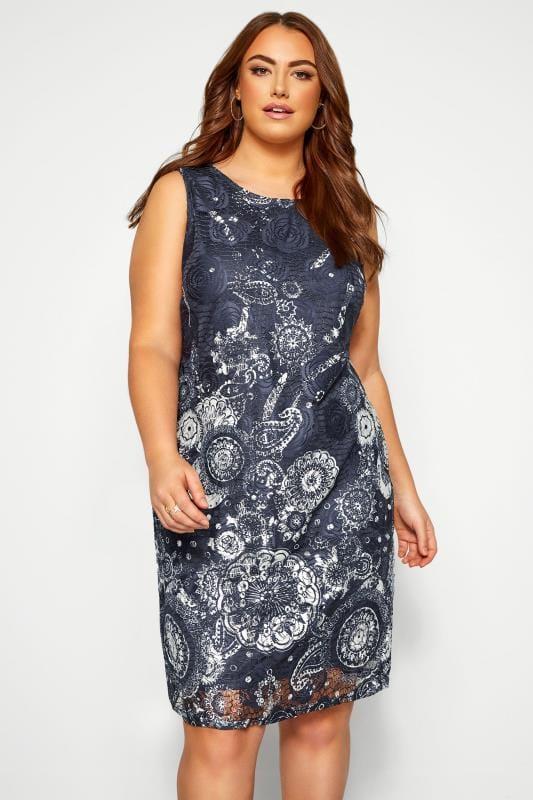 Plus Size Floral Dresses IZABEL CURVE Navy Floral Shift Dress