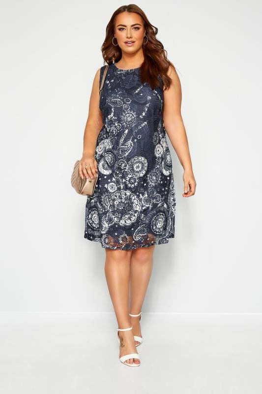Floral Dresses IZABEL CURVE Navy Lace Floral Shift Dress