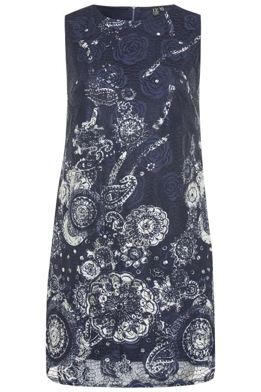 Vestidos flores Tallas Grandes IZABEL CURVE Navy Floral Shift Dress
