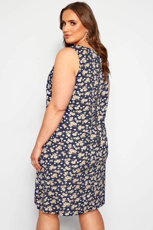 IZABEL CURVE Etui-Kleid mit Blumen-Muster - Dunkelblau ...