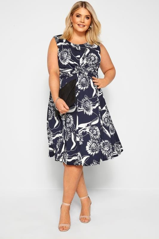 IZABEL CURVE Navy Floral Twist Dress