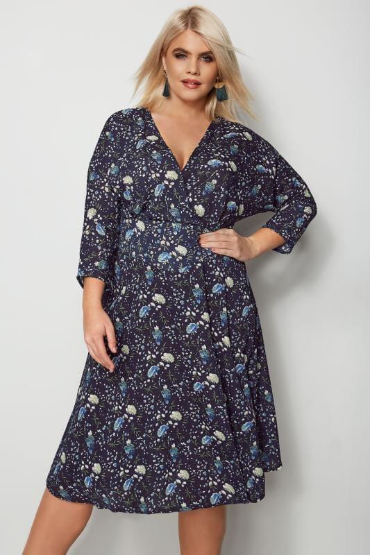 IZABEL CURVE Navy Floral Wrap Dress