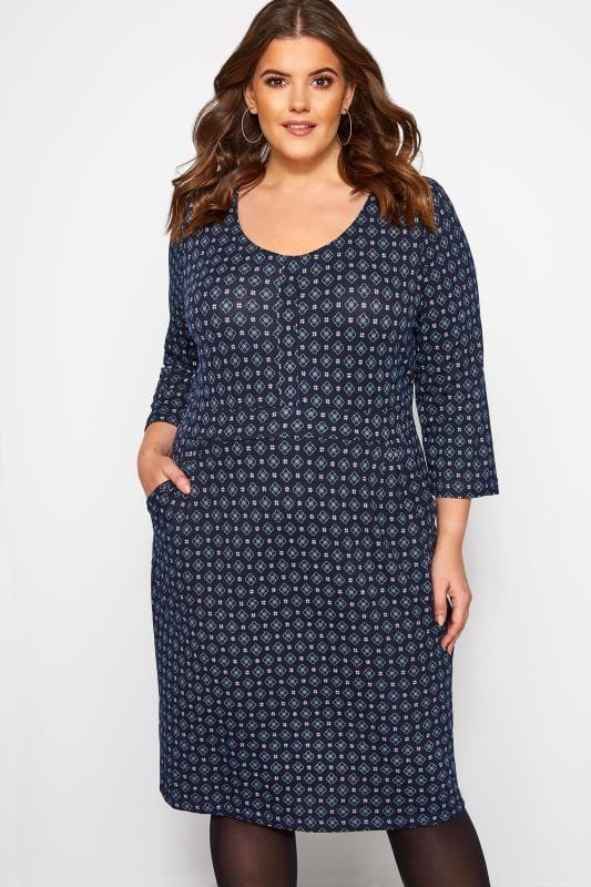 Plus Size Midi Dresses IZABEL CURVE Navy Geometric Print Knitted Dress
