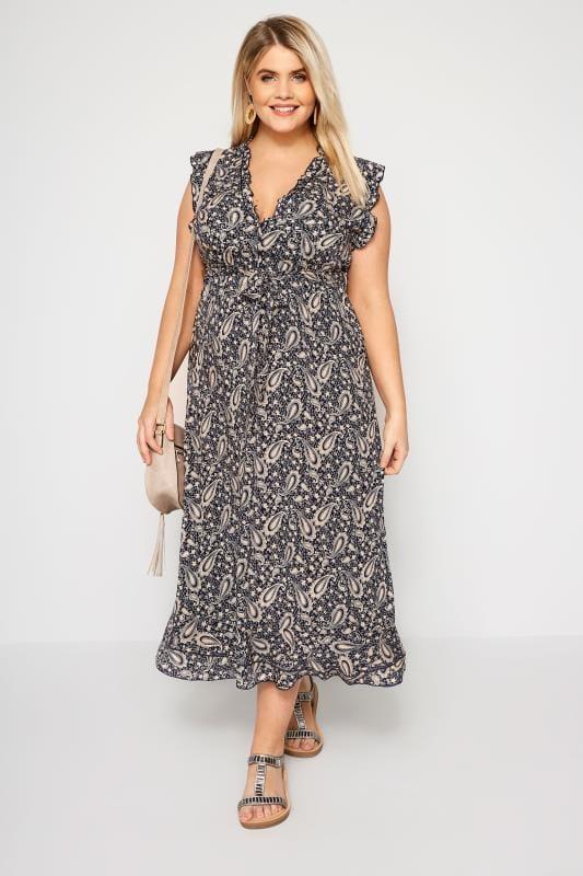 IZABEL CURVE Navy Paisley Maxi Dress