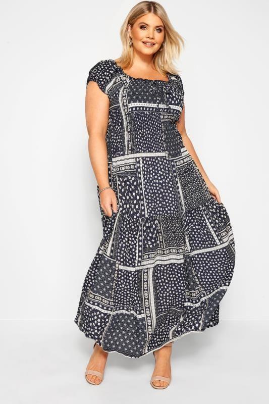 Maxi Dresses dla puszystych IZABEL CURVE Navy Patchwork Bardot Maxi Dress