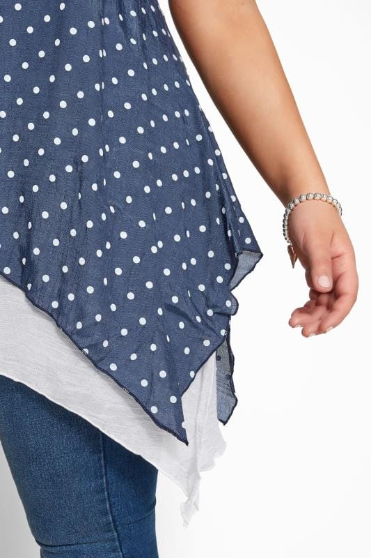 IZABEL CURVE Navy Polka Dot Double Layered Tunic