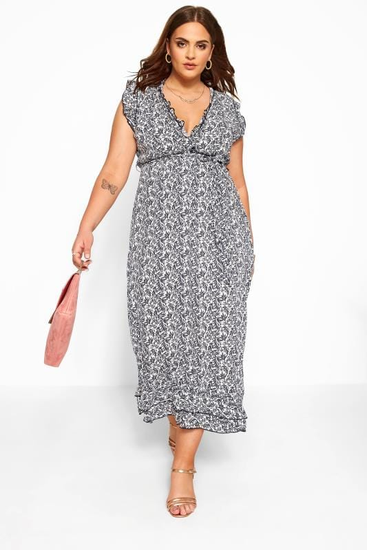 Plus Size Floral Dresses IZABEL CURVE Navy Ruffle Leaf Maxi Dress