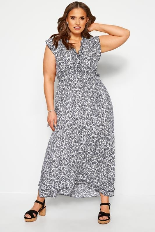 Plus-Größen Floral Dresses IZABEL CURVE Navy Ruffle Leaf Maxi Dress