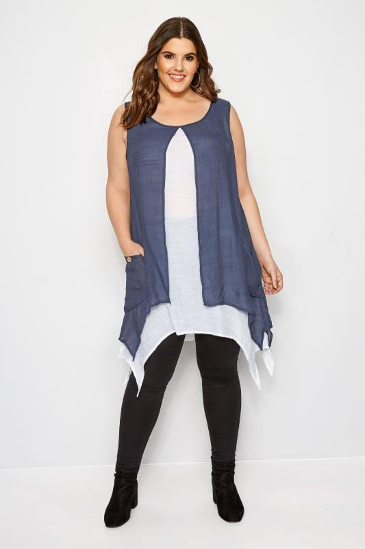 IZABEL CURVE Navy & White Layered Tunic