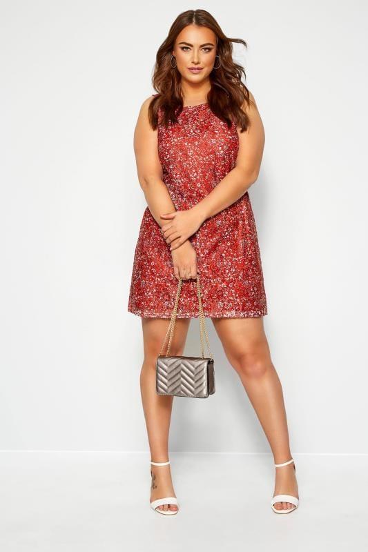 IZABEL CURVE Red Ditsy Floral Shift Dress