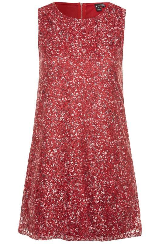 Plus Size Floral Dresses IZABEL CURVE Red Ditsy Floral Shift Dress