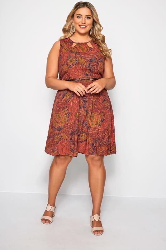IZABEL CURVE Red Leaf Print Belted Skater Dress
