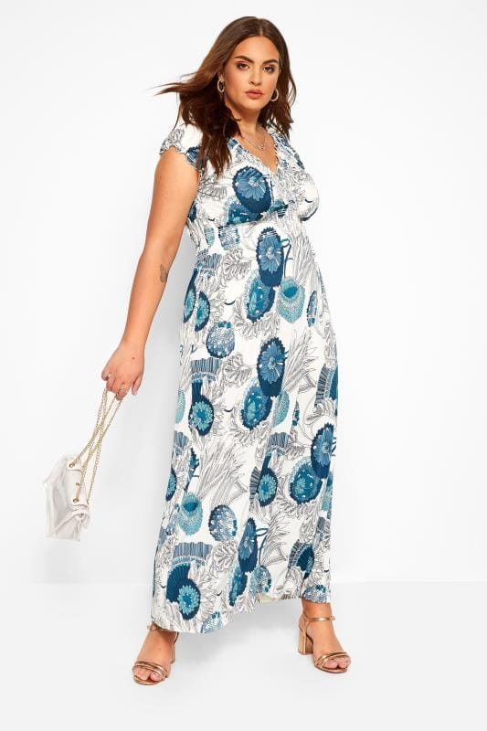 Большие размеры | Maxi Dresses IZABEL CURVE White & Blue Floral Print Shirred Maxi Dress