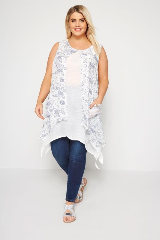 IZABEL CURVE White & Blue Floral Tunic Dress