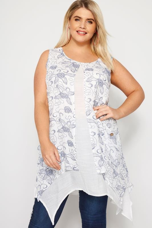 Plus Size Tunics IZABEL CURVE White & Blue Floral Tunic Dress