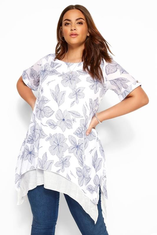 Plus Size Tunics IZABEL CURVE White & Blue Leaf Hanky Hem Tunic