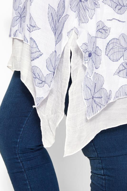 IZABEL CURVE White & Blue Leaf Hanky Hem Tunic
