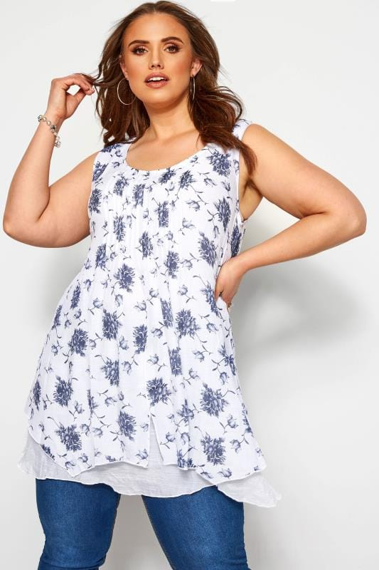 Plus Size Floral Tops IZABEL CURVE White Floral Double Layered Top
