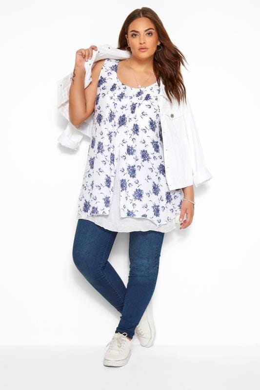 IZABEL CURVE White Floral Double Layered Top