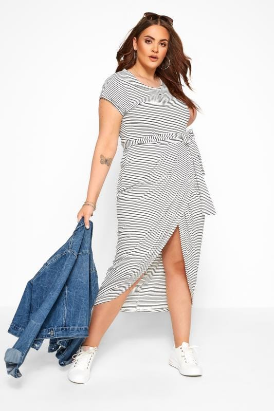 Большие размеры | Jersey Dresses IZABEL CURVE White Stripe Wrap Midi Dress