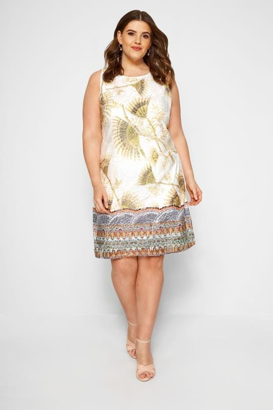 IZABEL CURVE White Tropical Border Shift Dress
