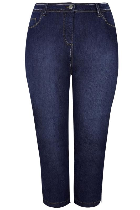 Indigo Blue Cropped Denim Jeans