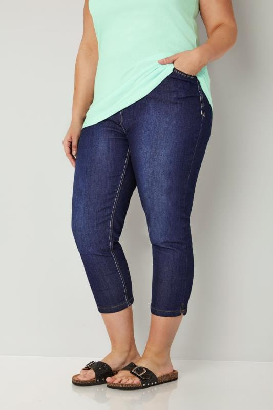 Plus Size Cropped Jeans Indigo Blue Cropped Denim Jeans