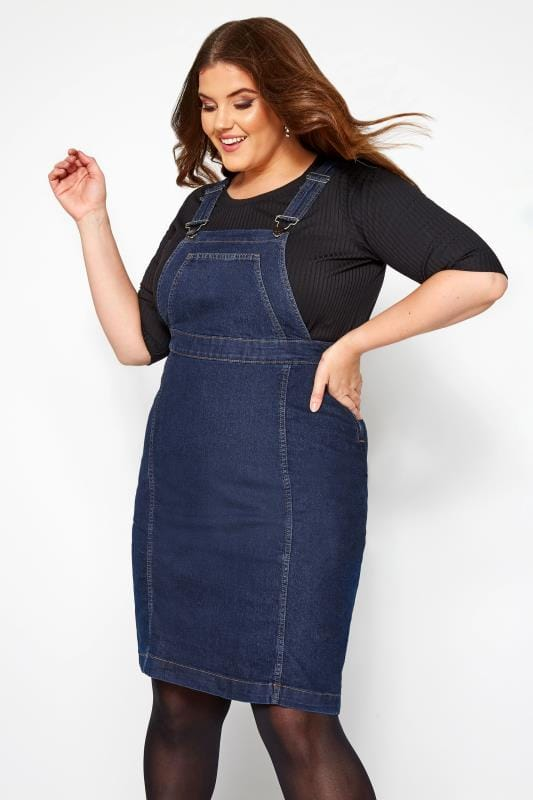 Plus Size Pinafore Dresses Indigo Blue Denim Pinafore Dress