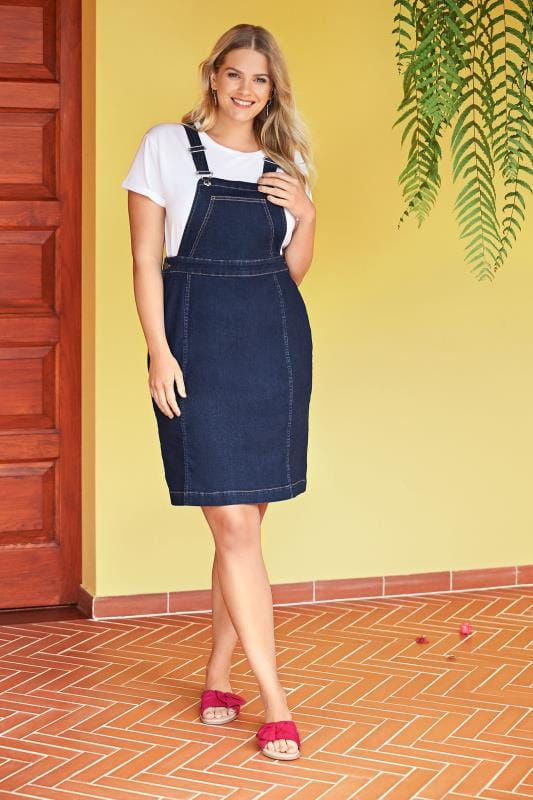 Indigo Blue Denim Pinafore Dress