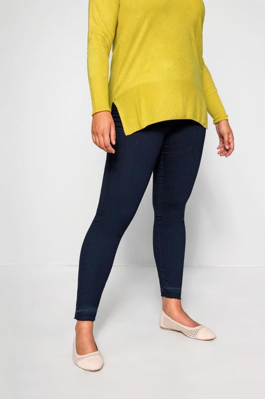 Indigo Blue JENNY Jeggings With Raw Hem
