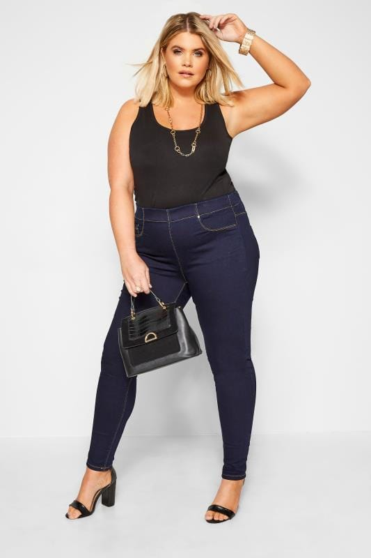 Plus Size Jeggings Indigo Blue Pull On JENNY Jeggings